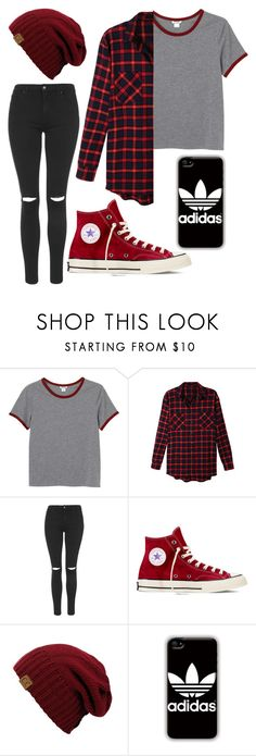 """Untitled #1"" by destinymaee-1 ❤ liked on Polyvore featuring Monki, LE3NO, Topshop, Converse and adidas"