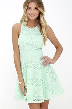 Before we go to sleep and when we wake, our thoughts are filled with pretty pieces like the Dream Whirled Mint Lace Skater Dress! Embroidered lace dances down a darted, sleeveless bodice, and into a curved waistline and skater skirt. Back keyhole and hidden zipper with clasps.