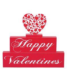 Love this Red & White 'Happy Valentines' Wood Brick - Set of Three on #zulily! #zulilyfinds
