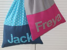 Present for Isla and Owen Personalised drawstring pump bag by JackSpratBags on Etsy, £16.95