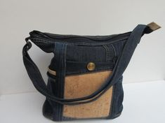Jeans bag with cork dark blue shoulder bag made from used jeans Wegwarte XXIII Cork Fabric, Denim Fabric, Cotton Fabric, Denim Bag, Denim Pants, Jeans, Dark Denim, Blue Denim, Dark Blue