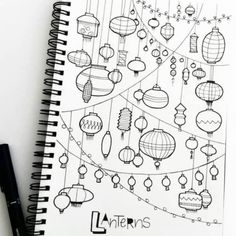 Doodle - Verzierungen Lettering doodle lampions How to build a Green-house Article Body: As with gar Doodles Bonitos, Sketch Note, Bujo Doodles, Note Doodles, Ink Doodles, Kawaii Doodles, Doodles Zentangles, Kawaii Art, Doodle Lettering