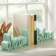 Shop dream believe word bookends from Pottery Barn Teen. Our teen furniture, decor and accessories collections feature fun and stylish dream believe word bookends. Create a unique and cool teen or dorm room.