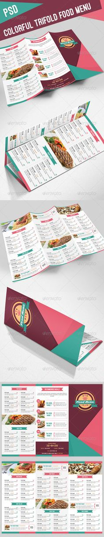 Colorful Trifold Food Menu — Photoshop PSD #restaurant menu #orange • Available here → https://graphicriver.net/item/colorful-trifold-food-menu/8144768?ref=pxcr
