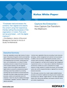"""Capture the Enterprise – How """"Capture"""" Can Transform the Mailroom White Paper, Canning, Digital, Home Canning, Conservation"""
