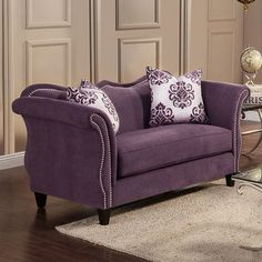 Furniture of America Othello Loveseat - Overstock Shopping - Great Deals on Furniture of America Sofas & Loveseats New Living Room, Living Room Sets, Living Room Chairs, Living Room Designs, Living Room Furniture, Wholesale Furniture, Online Furniture Stores, Furniture Deals, Purple Pillows