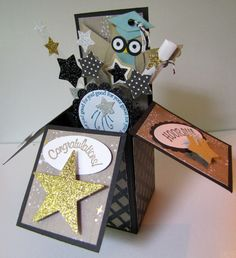 "Graduation ""card in a box"" I made for my nephew. Right side view. Stampin Up owl and sentiments."