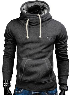 brand new d1c5f c49bc Solid Color Loose Kangaroo Pocket Men s Hoodie