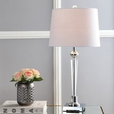 "Foster 28.25"" Crystal LED Table Lamp, Clear/Chrome by JONATHAN Y - Overstock - 19671161 Table Lamp Base, Table Lamp Sets, Lamp Bases, Cool Floor Lamps, Drum Shade, Lamp Light, Light Bulb, Led, Crystals"