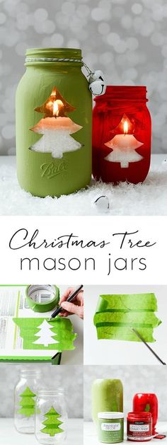 11 Christmas Crafts DIY Easy Fun Projects Christmas tree mason jar votive - Christmas tree cut out mason jar craft. Mason jar crafts for the holiday. Christmas Tree Cut Out, Christmas Tree Candles, Dollar Store Christmas, Christmas Jars, Diy Christmas Gifts, Christmas Ideas, Christmas Projects, Christmas 2017, Handmade Christmas