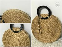 Diy round carrycot with individual palm tablecloths Diy Clothes And Shoes, African Accessories, Round Bag, Diy Purse, Boho Bags, Craft Bags, Basket Bag, Fabric Bags, Knitted Bags