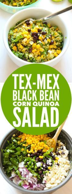 Tex-Mex Black Bean Corn Quinoa Salad - Layers of Happiness Mexican Food Recipes, Vegetarian Recipes, Cooking Recipes, Healthy Recipes, Avocado Recipes, Cooking Tips, Quinoa Salad Recipes Easy, Kale Recipes, Lunch Recipes
