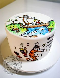 Calvin and Hobbes hand painted cake