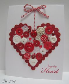 Loveheart buttons Christmas card idea with wreaths and candy canes