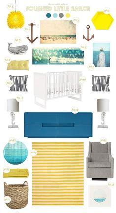 Nautical theme - blue, mustard, gray, etc...