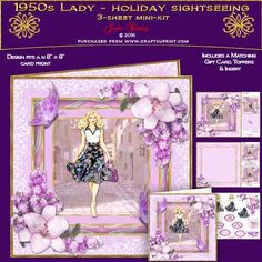 1950s Lady - Holiday Sightseeing by June Young A three-sheet mini-kit for an 8 x 8 card front, featuring a pretty lady exploring her holiday destination, in a multi-layered effect frame embellished with corner floral sprays and toning butterflies. The first sheet has the card front and matching gift card, sheet 2 has decoupage, and five greetings panels, two are blank for your own use. Sheet three has a matching insert for your card and two small toppers which can be used inside the front of…