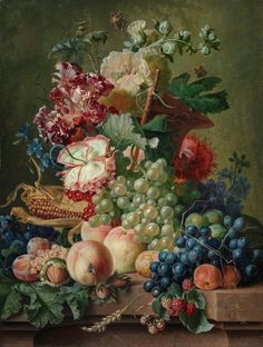 Paulus Theodorus van Brussel - Still life of flowers and fruit on a stone ledge, 1787, oil on panel, 53 x 40 cm
