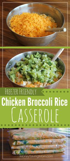 Freezer Friendly Chicken Broccoli Rice Casserole -- frugal, easy to whip up, delicious, filling, and it even freezes well!