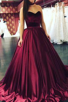 Evening Dresses, Long Evening Dresses,Sweetheart Burgundy Long Ball Gown Prom Dress,#eveningdresses #promdresses #sexydresses #longpromdresses