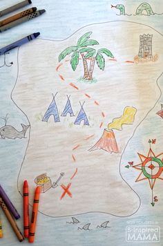 Make a Treasure Map for Play or Decor How to Make a Treasure Map for Kids at B-Inspired Mama Treasure Maps For Kids, Pirate Treasure Maps, Pirate Maps, Pirate Theme, Treasure Hunt Map, Pirate Decor, Pirate Birthday, Map Projects, Projects For Kids