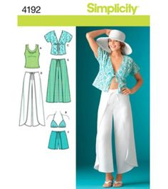 Simplicity Pattern 4192R5-Misses Wrap Pants Or Shorts