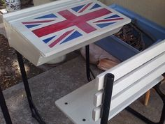 Upcycled school desk with Union Jack
