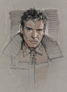 Rick Deckard, from Blade Runner - Artwork by Drew Struzan Blade Runner Art, Blade Runner 2049, Comic Books Art, Book Art, Face Sketch, Godzilla, Movie Poster Art, Art Drawings, Concept Art