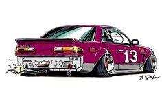 Drift Model - Nissan Silvia (Ozizo in Tokyo) Weird Cars, Cool Cars, Silvia S13, Street Racing Cars, Nissan Silvia, Drifting Cars, Car Illustration, Import Cars, Japan Cars