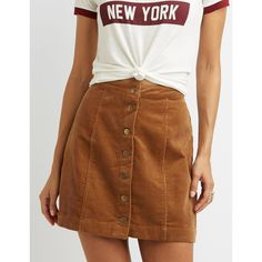 Charlotte Russe Corduroy Button-Up Shirt Skirt (£20) ❤ liked on Polyvore featuring skirts, mini skirts, tan, brown corduroy skirt, corduroy skirt, tan skirt, short skirts and a line corduroy skirt