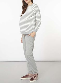 Womens **Maternity Grey And Ivory Stripe Sweatshirt- Grey