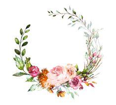 Floral Wreath Watercolor, Watercolor Flowers, Watercolor Art, Flower Frame, Flower Crown, Floral Logo, Floral Design, Wedding Cards, Wedding Invitations