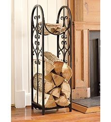 Compact Montebello Log Rack keeps a handy supply of firewood and kindling by your hearth. Attractive storage for indoors or out. Wood Storage Rack, Firewood Storage, Diy Storage, Storage Ideas, Decorative Storage, Storage Solutions, Indoor Firewood Rack, Firewood Holder, Diy Log Store