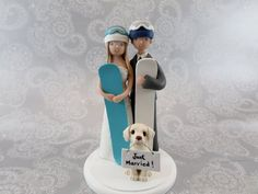 Bride & Groom with a Dog Customized Snowboard/ Ski by mudcards, $175.00