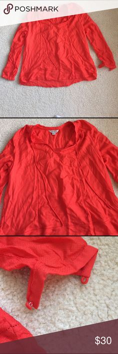 Beautiful bright orange LUCKY BRAND top LUCKY BRAND top • bright orange • long sleeves • tie-neck • flowy • lightweight • excellent condition (forgive wrinkles 😉) • fast same/next day shipping Lucky Brand Tops