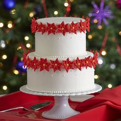 Dimensional royal icing poinsettias form an elegant wreath around the sophisticated snowy white two-tiered cake. Delicate buttercream icing bead borders surround both cake tiers while simple dots of icing decorate the top half of each cake tier. Christmas Cake Designs, Christmas Cake Decorations, Christmas Sweets, Holiday Cakes, Christmas Baking, Christmas Poinsettia, Christmas Cakes, Elegant Christmas, Christmas 2014