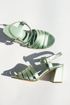 Maryan Nassir Zadeh - Mint Metallic Palma High Sandal | BONA DRAG