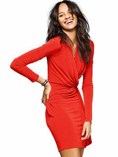 Faux-wrap Dress. Gotta have a red dress for those power days or for the holidays -  Valentines or Christmas.