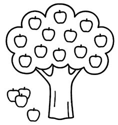 Coloring Sheets Of Apple Trees With Tree Pages
