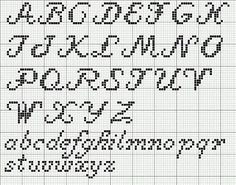 Cross Stitch Patterns cross stitch - cursive alphabet: - Free Sampler Pattern which incorporates some of my favorite motifs. The design is 71 stitches wide by 180 stitches long, and incorporates a quote and some special stitches too. The colors are sim… Cross Stitch Letter Patterns, Cross Stitch Letters, Cross Stitch Designs, Stitch Patterns, Cross Stitch Font, Loom Patterns, Crochet Alphabet, Embroidery Alphabet, Cursive Alphabet