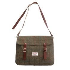 "Unused HARRIS TWEED Made in Scotland Herringbone 16"" satchel 