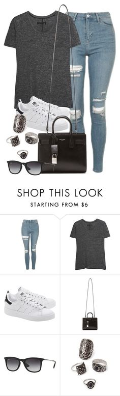 """Style #10425"" by vany-alvarado ❤ liked on Polyvore featuring Topshop, rag & bone, adidas Originals, Yves Saint Laurent, Ray-Ban and Forever 21"