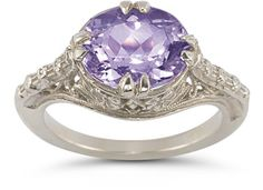 Vintage Rose Amethyst Ring in 14K White Gold