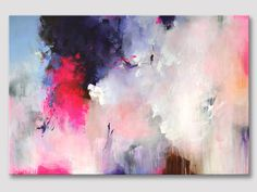 Original large XXL abstract fine art, abstract art, modern painting, colorful art, deep purple and pink acrylic painting on stretched canvas von ARTbyKirsten auf Etsy