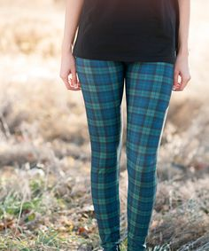 Look at this Green & Navy Plaid Leggings on #zulily today!