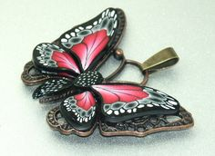 Polymer Clay BUTTERFLY Pendant antique cooper by elenadesignbead, $10.99