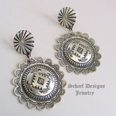 Vince Platero small stamped sterling silver round concho POST earrings   Schaef Designs   New Mexico