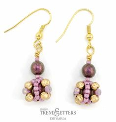 Starman TrendSetter Bon Bon Earrings Beading Patterns Free, Beading Tutorials, Bead Patterns, Tiny Earrings, Drop Earrings, Pink Olive, Bead Store, Czech Glass Beads, Round Beads
