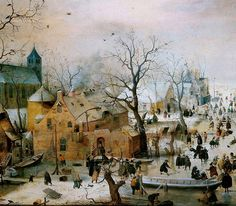 """painting box: January 2011 - Hendrick Avercamp """"Winter Landscape with Ice Skaters"""", I saw this last summer at the Rijksmuseum in Amsterdam. Rembrandt, Arte Online, Jan Van Eyck, Dutch Golden Age, Ice Skaters, Winter Painting, Painting Holidays, Dutch Painters, Dutch Artists"""