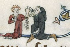 Gorleston Psalter, ca. 1310. f. 142r:  detail of a marginal scene of a monk offering money to a woman.