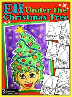 Elf Under the Christmas Tree , Art Lesson Plan Christmas Tree Art, Christmas Drawing, Christmas Crafts, Christmas Concert, Christmas Activities, Christmas Themes, Winter Activities, February Holidays, December